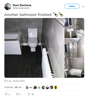 Dean from Mira Showers on social media showing off his new bathroom