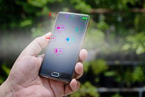 Social media likes on a phone
