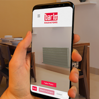 Barlo Radiators' heating app shown on a smartphone
