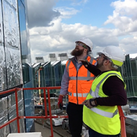 Brexit Superfoil MD William Bown and a colleague on site