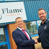 Managers of Flame and HSBC outside Flame Heating Offices