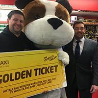 Michael winning the first Baxi Golden Ticket