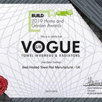 Vogue (UK) win 'Best UK Heated Towel Rail Manufacturer' 2019